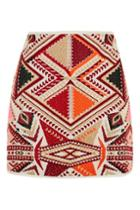 Topshop Embroidered Jacquard Skirt