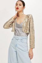 Topshop Embellished Cropped Jacket
