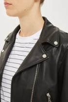 Topshop Belted Leather Biker Jacket By Boutique