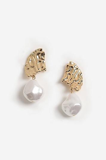 Topshop Hammered Pearl Drop Earrings