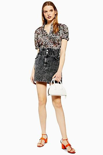 Topshop Acid Wash Paperbag Denim Skirt