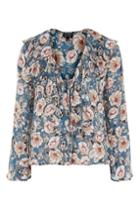 Topshop Peony Floral Tie Front Blouse