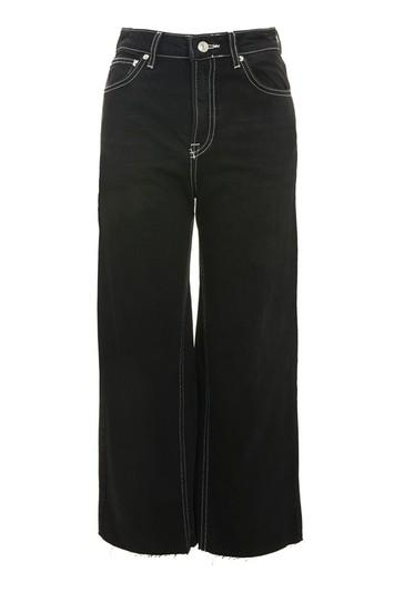 Topshop Moto Contrast Stitch Cropped Wide Leg Jeans