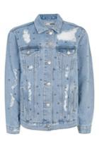 Topshop Petite Studded Oversized Jacket