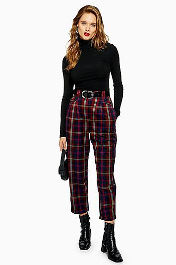 Topshop Burgundy Check Peg Trousers