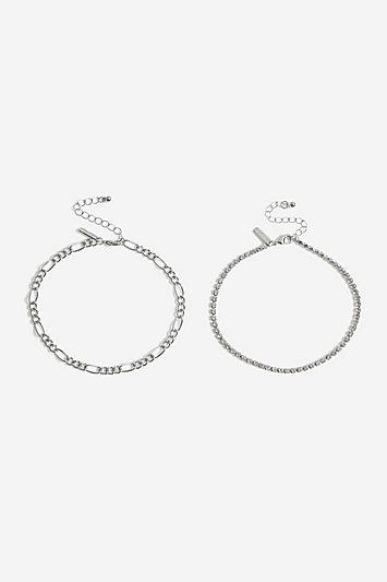Topshop *crystal Chain Anklet Pack