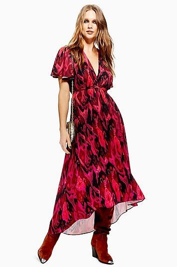 Topshop Distorted Ikat Midi Dress