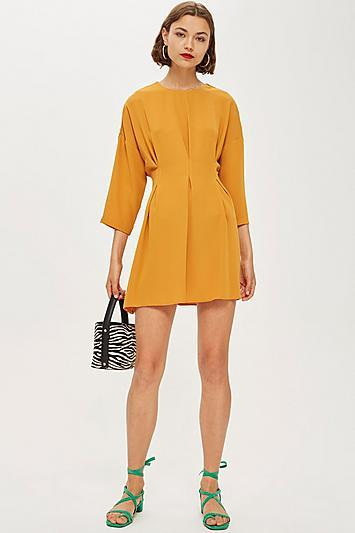 Topshop Tall Tuck Seam Mini Dress