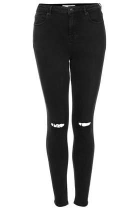 Topshop Tall Moto Black Ripped Jamie Jeans