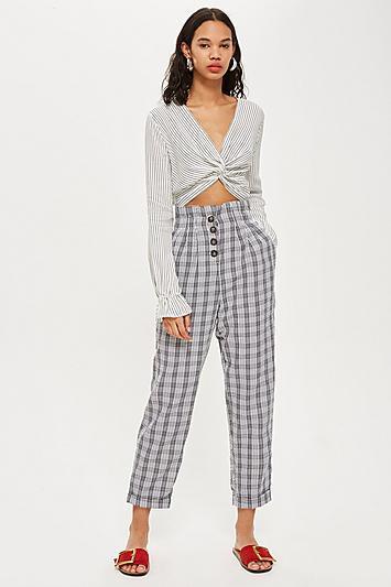 Topshop Petite Check Button Peg Trousers