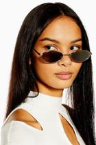 Topshop Slender Oval Silver And Smoke Sunglasses