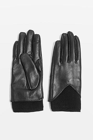 Topshop Knitted Leather Touchscreen Gloves
