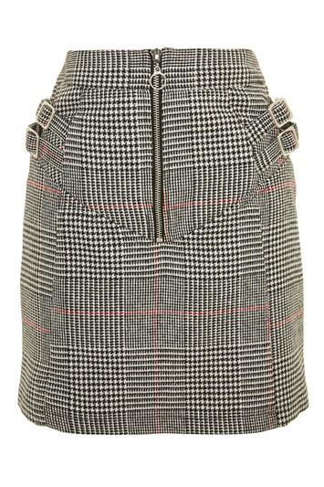 Topshop Tall Check Buckle Peplum Mini Skirt