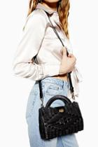 Topshop Saffi Black Wicker Straw Grab Bag