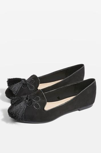 Topshop *wide Fit Tassel Detail Slippers