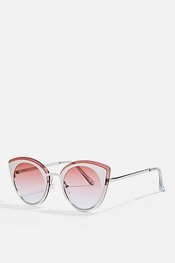 Topshop Poppy Laid On Metal Sunglasses