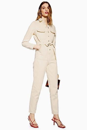 Topshop Cream Denim Boiler Suit
