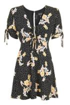 Topshop Petite Spot And Floral Tea Dress