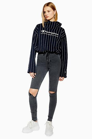 Topshop Grey Flap Rip Joni Jeans