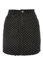 Topshop Moto Diamond Mesh Denim Mini Skirt