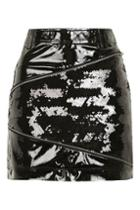Topshop Vinyl Sequin Zip Mini Skirt