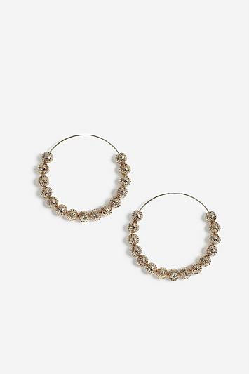 Topshop Ball Beaded Hoop Earrings