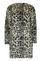Topshop Leopard Pint Faux Fur Coat