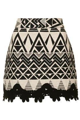 Topshop Crochet Hem A-line Skirt
