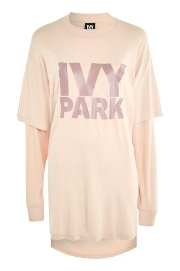 Topshop Double Layer Logo Top By Ivy Park