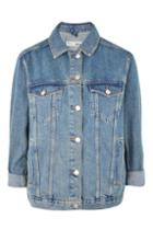 Topshop Petite Elbow Rip Denim Jacket