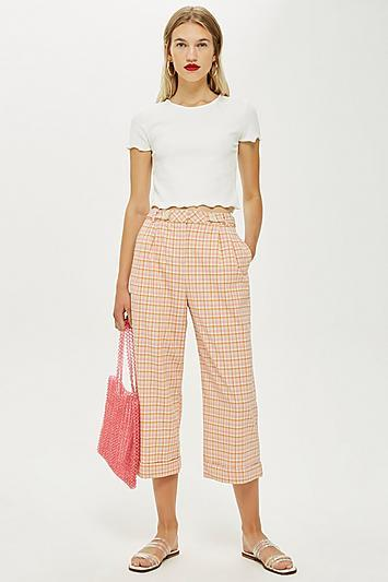 Topshop Petite Check Wide Trousers