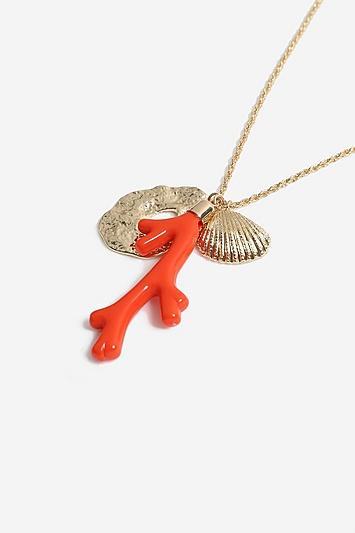 Topshop *twist Chain Coral Pendant