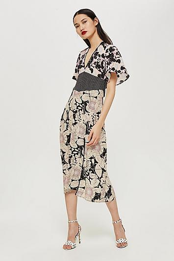 Topshop Mix Floral Midi Dress