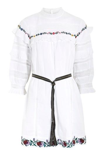 Topshop Embroidered Balloon Smock Dress