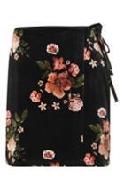 Topshop Floral Velvet Wrap Skirt