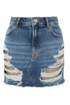 Topshop Moto Fishnet Rip Denim Mini Skirt