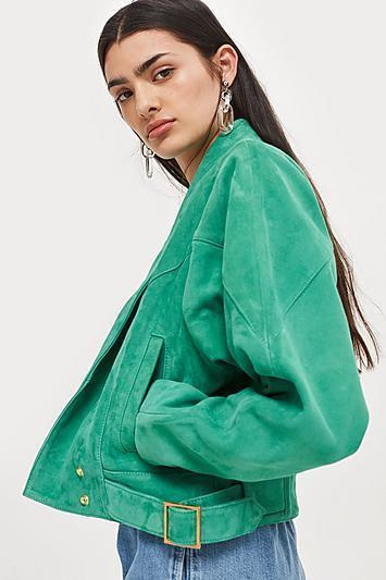 Topshop Green Suede Jacket