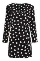 Topshop Spot Print Wrap Mini Shift Dress