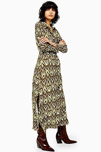 Topshop Open Back Shirt Dress In Zigzag