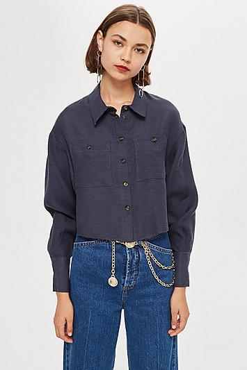 Topshop Raw Edge Long Sleeve Shirt