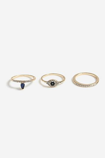 Topshop *blue Crystal Eye Multipack Ring
