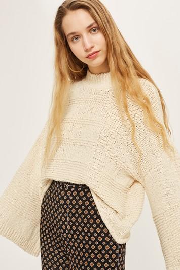 Topshop Natural Yarn Wide Sleeve Sweater