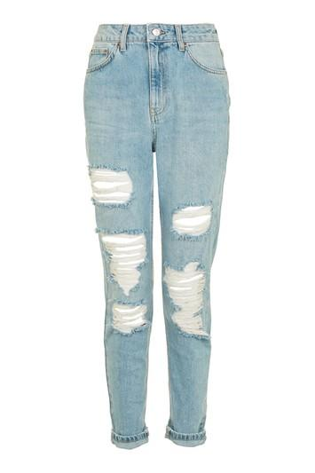 Topshop Moto Vintage Bleach Mom Jeans
