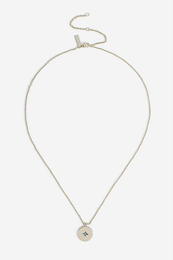 Topshop *december Birthstone Coin Ditsy Necklace