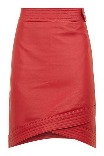 Topshop Wrap Leather Mini Skirt