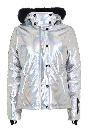 Topshop *holographic Ski Jacket By Topshop Sno