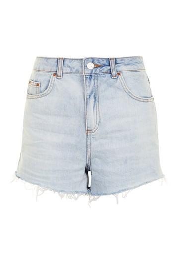 Topshop Moto Bleach High Waisted Shorts