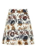 Topshop Pressed Flower A-line Skirt