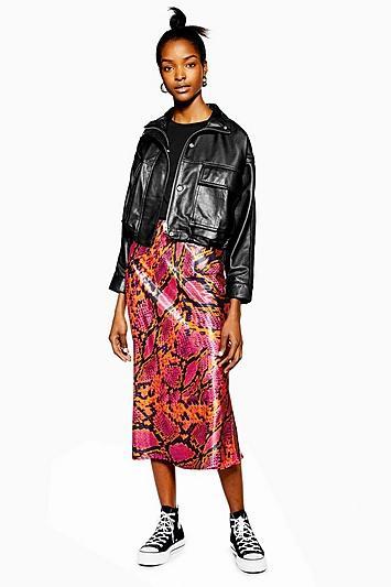 Topshop Snake Satin Bias Midi Skirt