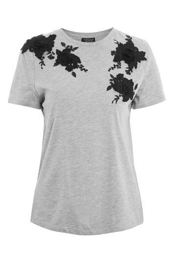 Topshop 3d Floral Applique T-shirt